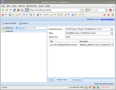 A screenshot of the Dradis web interface showing the OSVDB Import plugin in action