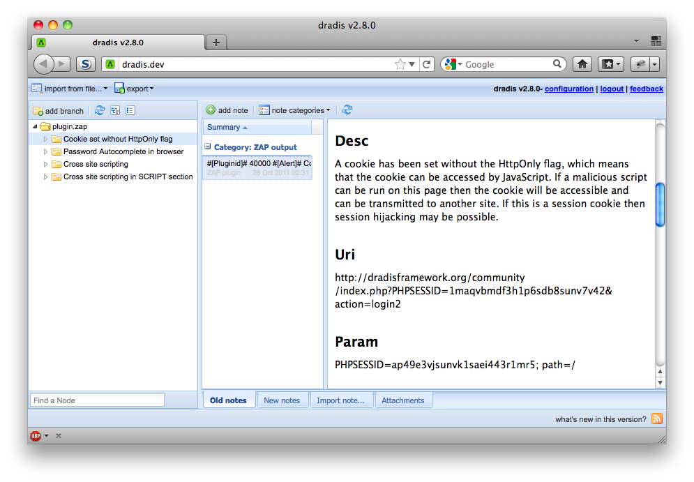 A screenshot of the Dradis web interface showing the ZAP Upload plugin in action