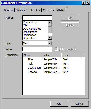 A screenshot showing the custom properties once they have been added to the Word document