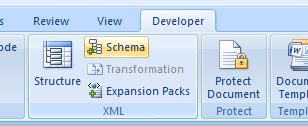 A screenshot showing Word's Ribbon menu, the Developer tab selected and the Schema option highlighted