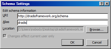A screenshot showing the new schema's properties: URL, alias and file location