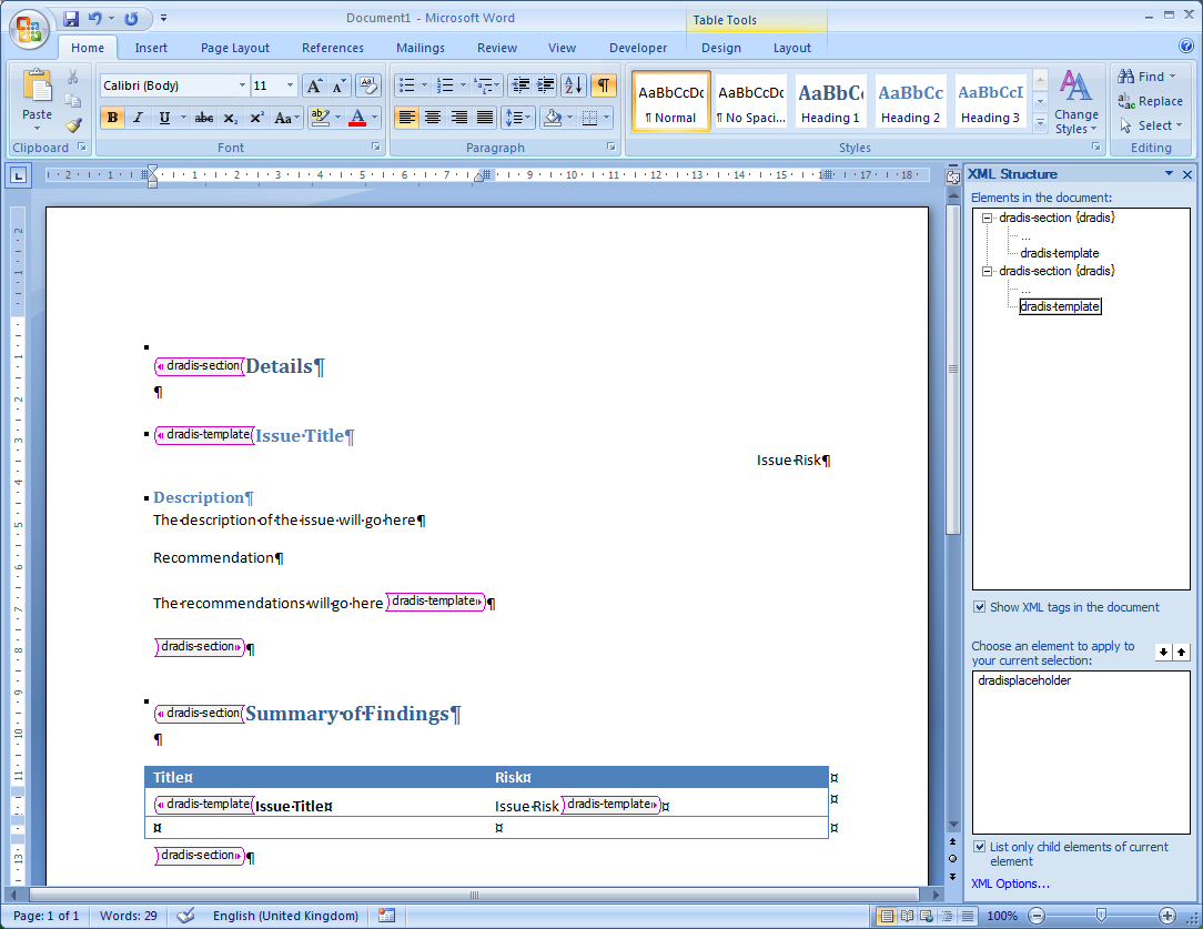a screenshot showing the template layout with the xml tags applied to the different sections