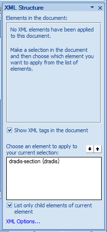 A screenshot showing the XML panel that displays both the structure and elements of the current schema associated with the document